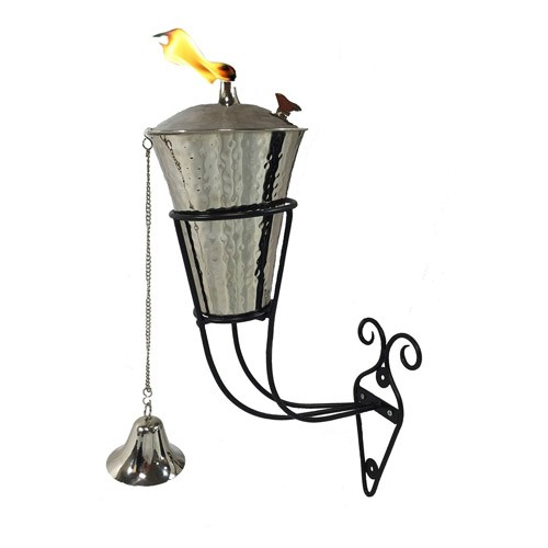 Kona Hammered Nickel Tiki Torch Wall Sconce