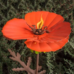 Blooming Poppy Flower Tiki Torch