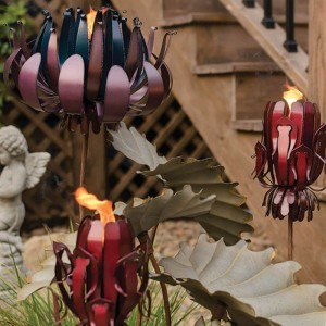 Tropical Protea Flower Tiki Torch